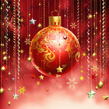 Christmas Red Abstract Background With Several Decorations Hanging Down. Royalty Free Stock Image