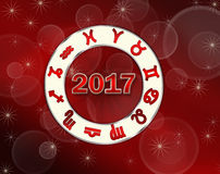 Christmas red background astro 2017 natal chart with horoscope symbols Stock Photography