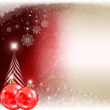 Christmas red background with balls and silhouette of Christmas tree Royalty Free Stock Photography