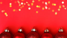 Christmas red background with balls Stock Image