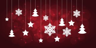 Christmas red background. With paper snowflakes and christmas trees. vector illustration stock illustration
