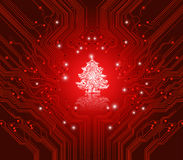 Christmas red background - creative technology Stock Image