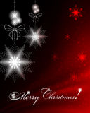 Christmas red background. Christmas dark red background with snowflakes, bows and text Royalty Free Stock Photo
