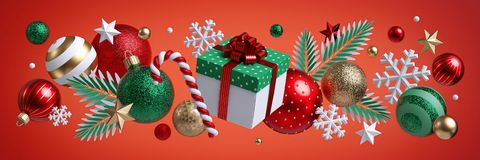 Free Christmas Red Background, Festive Horizontal Border. Square Gift Box. Assorted Ornaments, Green Gold Glass Balls, Stars Stock Photography - 164776892