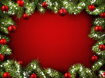Christmas red background. With fir branches and balls. Vector illustration Royalty Free Stock Image