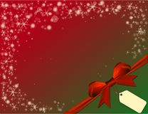 Christmas red background with red bow in green corner Stock Photos