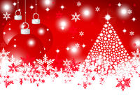 Christmas red background with shiny Christmas tree Royalty Free Stock Photos