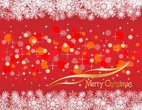Christmas red background with snow flakes Stock Photo