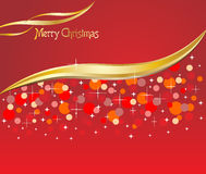 Christmas red background with snow flakes Stock Images