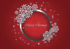 Christmas red background with snowflake. Royalty Free Stock Images
