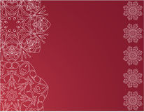 Christmas red background with snowflakes Stock Photos