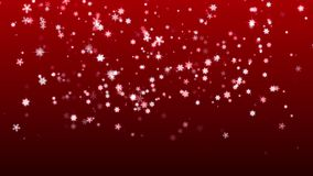 Christmas red background with snowflakes falling snow holiday xmas with stars hd stock video footage