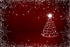 Christmas red background with snowflakes frame and Christmas tre Royalty Free Stock Images