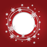 Christmas red background with snowflakes and place. For text. Round frame. Vector Illustration royalty free illustration
