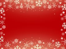 Christmas red background with snowflakes. Christmas red background with silver white snowflakes rectangle horizontal frame royalty free stock image