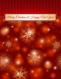 Christmas red background with snowflakes, vector Royalty Free Stock Photos