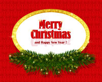 Christmas red background with sparkling frame Stock Image