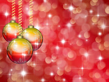 Christmas red background with stars and balls Royalty Free Stock Photography
