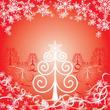 Christmas red background, vector illustration Stock Photography