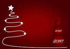 Christmas red background with white Christmas tree and red snowman 2017. Stock Photos