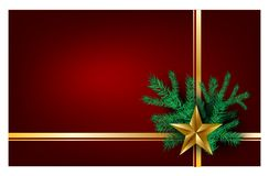 Free Christmas Red Background With Christmas Tree Happy New Year For Wishing Card,greeting Cards Golden Ribbons With The Golden Star Stock Photos - 125835303