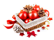 Christmas red ball in basket Stock Image