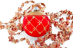 Christmas red ball with beads Royalty Free Stock Images