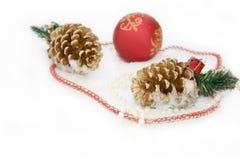 Christmas red  ball,  beads,  Christmas cone Stock Photography