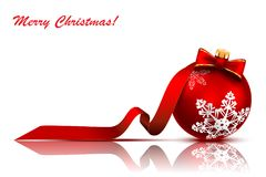 Christmas red ball with bow and ribbon Royalty Free Stock Image