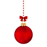 Christmas red ball with bow on a tape Royalty Free Stock Photos