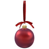 Christmas red ball with bow  on white, 3d illustration Royalty Free Stock Images