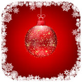 Christmas red ball christmas card. EPS 8 Stock Images
