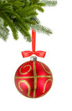 Christmas red ball and christmas tree branch isolated over white Stock Photography