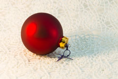 Christmas red ball Christmas tree closeup Stock Images