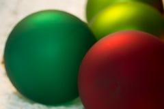 Christmas red ball Christmas tree closeup. Stock Photo