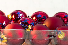 Christmas red ball Christmas tree closeup Royalty Free Stock Image