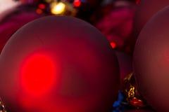 Christmas red ball Christmas tree closeup Royalty Free Stock Photo