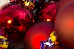 Christmas red ball Christmas tree closeup Royalty Free Stock Photos