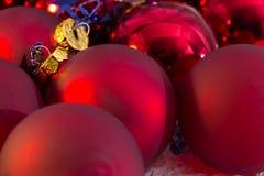 Christmas red ball Christmas tree closeup Stock Photo