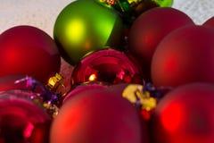 Christmas red ball Christmas tree closeup Stock Photos