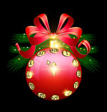 Christmas red ball and clock Stock Photo