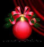 Christmas red ball and drape Stock Images