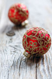 Christmas red ball with gold ornament Stock Images