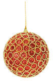 Christmas red ball with golden ornament isolated on the white ba Royalty Free Stock Image