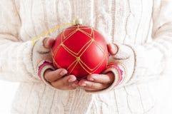 Christmas Red Ball Ornament Stock Photo
