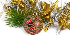 Christmas red ball with pine branch Stock Image