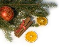 Christmas red ball, twig of fir, orang� and  cinnamon Stock Photos