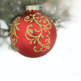 Christmas red ball and wig of fir Royalty Free Stock Photography