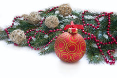 Christmas red ball and wig of fir Stock Photography