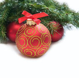 Christmas red ball and wig of fir Royalty Free Stock Photos